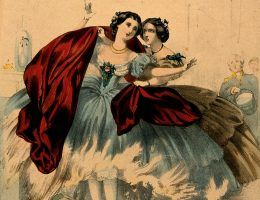 "V0048935 Women wearing crinolines set on fire, ca. 1860, lithograph Credit: Wellcome Library, London. Wellcome Images images@wellcome.ac.uk http://wellcomeimages.org Women wearing crinolines which are set on fire by flames from a domestic fireplace. Coloured lithograph, ca. 1860. Lettering: ""Fire"". The horrors of crinoline and the destruction of human life. Lettering note: On the verso, a lithographed list of 54 prints, mostly on the subject of crinolines, available from the same publisher. One gives a terminus ante quem non for the present print: it showed the winner of the 1859 Derby. Colour Lithograph 1860 Published: [ca. 1860?] Copyrighted work available under Creative Commons Attribution only licence CC BY 4.0 http://creativecommons.org/licenses/by/4.0/"