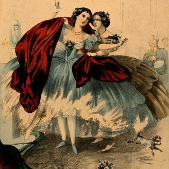 "V0048935 Women wearing crinolines set on fire, ca. 1860, lithograph Credit: Wellcome Library, London. Wellcome Images images@wellcome.ac.uk //wellcomeimages.org Women wearing crinolines which are set on fire by flames from a domestic fireplace. Coloured lithograph, ca. 1860.   Lettering: ""Fire"". The horrors of crinoline and the destruction of human life.   Lettering note: On the verso, a lithographed list of 54 prints, mostly on the subject of crinolines, available from the same publisher. One gives a terminus ante quem non for the present print: it showed the winner of the 1859 Derby. Colour Lithograph 1860 Published: [ca. 1860?]  Copyrighted work available under Creative Commons Attribution only licence CC BY 4.0 //creativecommons.org/licenses/by/4.0/"