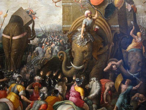 Pijany słoń to wesoły słoń. Mniej więcej. Obraz bitwy pod Zamą pochodzący z końcówki XVI wieku (fot. Sailko, lic. CC BY-SA 3.0).