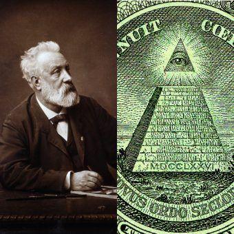 Czy Juliusz Verne miał na pieńku z masonerią? (zdjęcie po lewej: autor nieznany, domena publiczna, po prawej: fragment banknotu o nominale 1 USD).