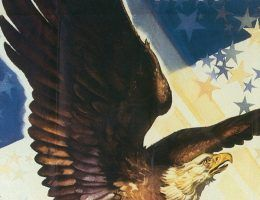 Amerykański plakat propagandowy z okresu II Wojny Światowej (źródło: domena publiczna).