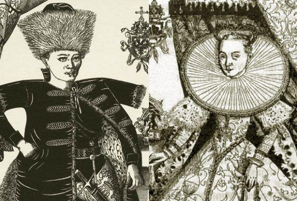 Na tej rycinie Maryna występuje jeszcze z pierwszym mężem. Powstała w czasie jej największej chwały jako carycy Rosji (źródło: domena publiczna).