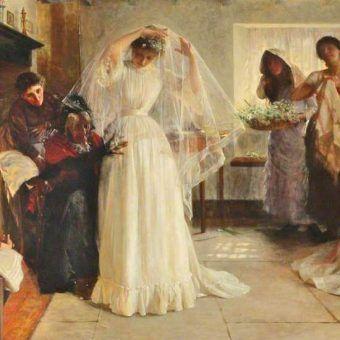 """Żadna panna młoda szykująca się do ceremonii nie chciałaby, by jej ślub potoczył się jak opisywany poniżej... Fragment obrazu Johna Henry'ego Fredericka Bacona pt. """"The wedding morning"""" z 1898 roku (źródło: domena publiczna)."""