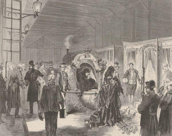 """Marię Wiktorię i Amadeusza pech dopadł nawet za granicą. Musieli opuścić Hiszpanię, zanim na dobre się w niej zadomowili. Szkic z gazety """"Le Monde Illustré"""" z 1873 roku autorstwa Daniela Vierge (źródło: domena publiczna)."""