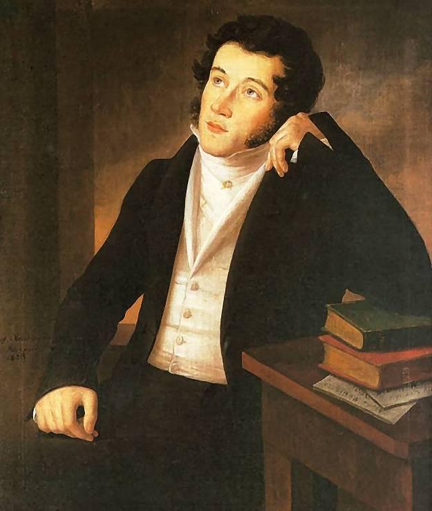 Wśród założycieli Towarzystwa Filomatycznego był między innymi późniejszy polski wieszcz Adam Mickiewicz. Obraz Józefa Oleszkiewicza z 1828 roku (źródło: domena publiczna).