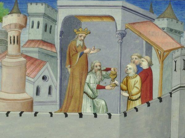 """Faszerowanie haszyszem młodych adeptów asasyńskiego fachu? Tak wyobrażał to sobie ilustrator """"Opisania świata"""" Marco Polo (źródło: domena publiczna)."""