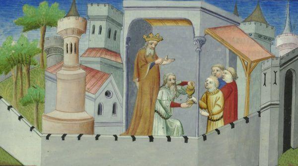"""Faszerowanie haszyszem młodych adeptów nizaryckiego fachu? Tak wyobrażał to sobie ilustrator """"Opisania świata"""" Marco Polo (źródło: domena publiczna)."""