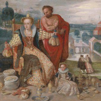 Moje, moje, moje... całe to bogactwo jest moje! Flamandzka alegoria chciwości z 1604 roku (źródło: domena publiczna).