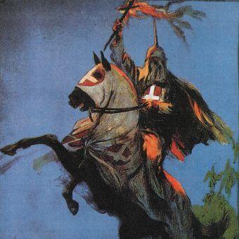 """Fragment plakatu do filmu """"Narodziny narodu"""" z 1915 roku, który stanowił impuls do odtworzenia Ku Klux Klanu (źródło: domena publiczna)."""