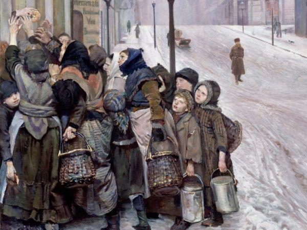 """Głód i bieda były codziennością Londynu. Christian Krohg, """"Walka o przetrwanie"""" (źródło: domena publiczna)."""
