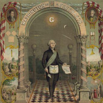 George Washington w stroju masońskim. A przecież nie tylko ta organizacja miała wielkie znaczenie i wpływy... (źródło: domena publiczna).