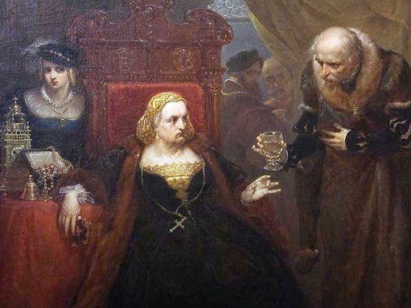 """Pappacoda kazał zamordować lekarza, który podał Bonie truciznę. Później wydał wyrok na wszystkich współspiskowców. Jan Matejko, """"Otrucie królowej Bony"""", 1859 rok (źródło: domena publiczna)."""