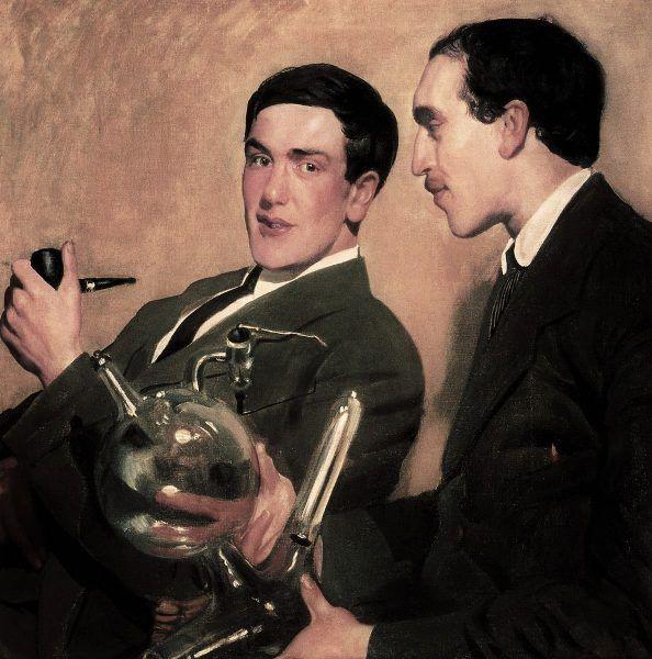 Dwóch noblistów: fizyk Piotr Kapica (po lewej) i chemik Nikołaj Siemonow na obrazie pędzla Borisa Kustodijewa (domena publiczna).