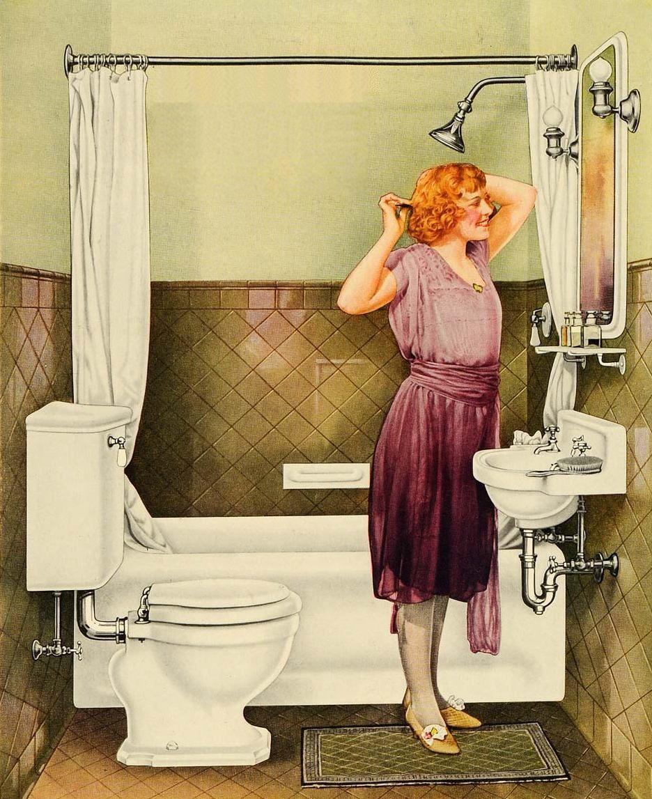 W dwudziestoleciu międzywojennym nowoczesna łazienka nie mogła się obejść bez wanny oraz ścian wyłożonych glazurą (źródło: domena publiczna).