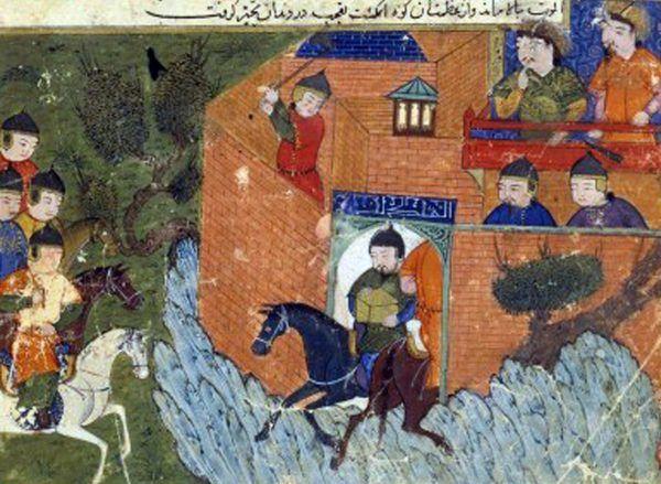 Nizaryci mieli o wiele większe problemy chociażby z Mongołami, niż z Krzyżowcami. Na miniaturze jedno z oblężeń twierdzy Alamut (źródło: domena publiczna).