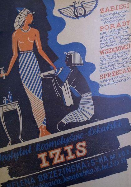 Instytut Kosmetyki Lekarskiej Izis nie przestał się reklamować nawet w czasie okupacji (źródło: domena publiczna).