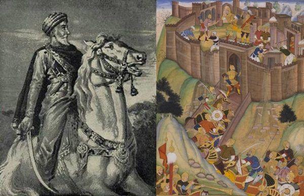 Starzec z Gór, czyli Hasan Ibn as-Sabbah (po lewej) i twierdza Alamut (po prawej), czyli dwa filary sugestywnego przekazu Marco Polo (źródło: domena publiczna).
