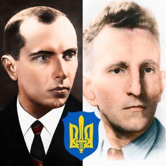 """Ukraińscy nacjonaliści wierzyli, że idea """"samostijnej Ukrainy"""" jest ważniejsza, niż ludzkie życie. Na ilustracji: Stepan Bandera (autor: Alexey Marenko, lic.: CC BY-SA 3.0) i Roman Szuchewycz (domena publiczna)."""