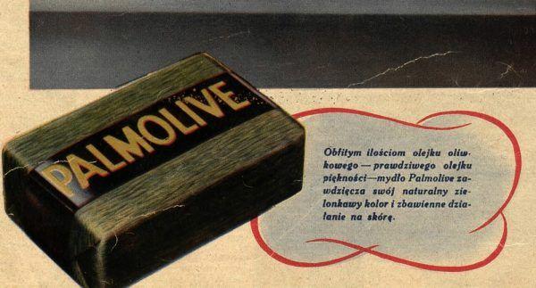 Własnoręczne przygotowanie mydła było zdecydowanie bardziej opłacalne niż kupowanie gotowego produktu. Na ilustracji fragment przedwojennej reklamy mydła Palmolive (źródło: domena publiczna).