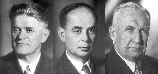 Gdy w 1958 roku Pawieł Czerenkow (pierwszy z lewej), Ilja Frank (w środku) i Igor Tamm odbierali Nagrodę Nobla w dziedzinie fizyki stwierdzili, że nieżyjący już wtedy Siergiej Wawiłow w takim samym stopniu zasługiwał na tę nagrodę (domena publiczna).