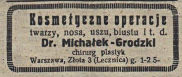 """Inne ogłoszenie promujące tego samego chirurga plastycznego opublikowane w """"Mojej Przyjaciółce"""" w 1935 roku."""