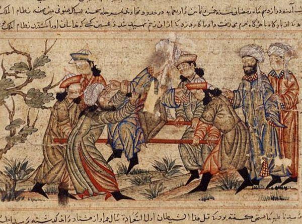 XIV-wieczne malowidło przedstawiające, jak Asasyni zabijają Nizama al-Mulka (źródło: domena publiczna).