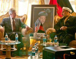 U.S. Ambassador to Afghanistan Ryan Crocker, center, sits with Zabul provincial Gov. Mohammad Naseri, right, to discuss the progress of Zabul province in Qalat, Afghanistan, Jan. 26, 2012. (DoD photo by Staff Sgt. Joshua Brandenburg, U.S. Army/Released)
