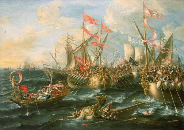 Po bitwie pod Akcjum Kasjusz Parmeński starał się ukryć w Egipcie, ostatecznie nie na wiele się to zdało. Na ilustracji obraz przedstawiający rzeczoną bitwę pędzla Laureysa a Castro (źródło: domena publiczna).