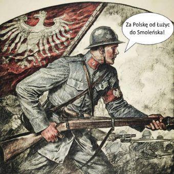 Przerobiony fragment plakatu wojennego Władysława Teodora Bendy.