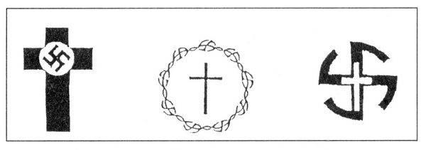 "Symbole nazistowskiej organizacji ""Deutsche Christen"" (autor: BrThomas, licencja: CC BY-SA 3.0)."