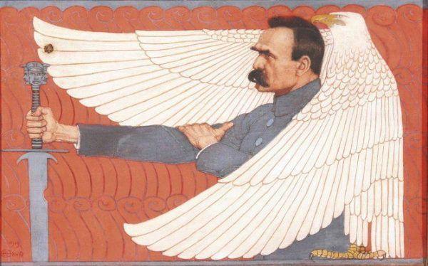 Carton de Wiart wyraźnie był zauroczony postacią Marszałka. Obraz Edwarda Okunia z 1919 roku (źródło: domena publiczna).
