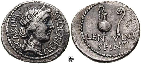 Mimo że dokładne okoliczności śmieci Kasjusza nie są znane, to jedno jest pewne, zapłacił najwyższą karę za zaplanowanie mordu na Cezarze. Na ilustracji denar Kasjusza (źródło: cngcoins.com; lic. CC BY-SA 3.0).