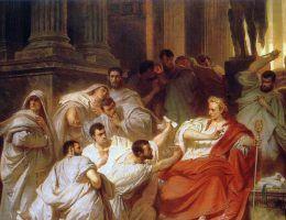 Śmierć Cezara na obrazie Karla Theodora von Pilotyego_(źródło: domena publiczna).