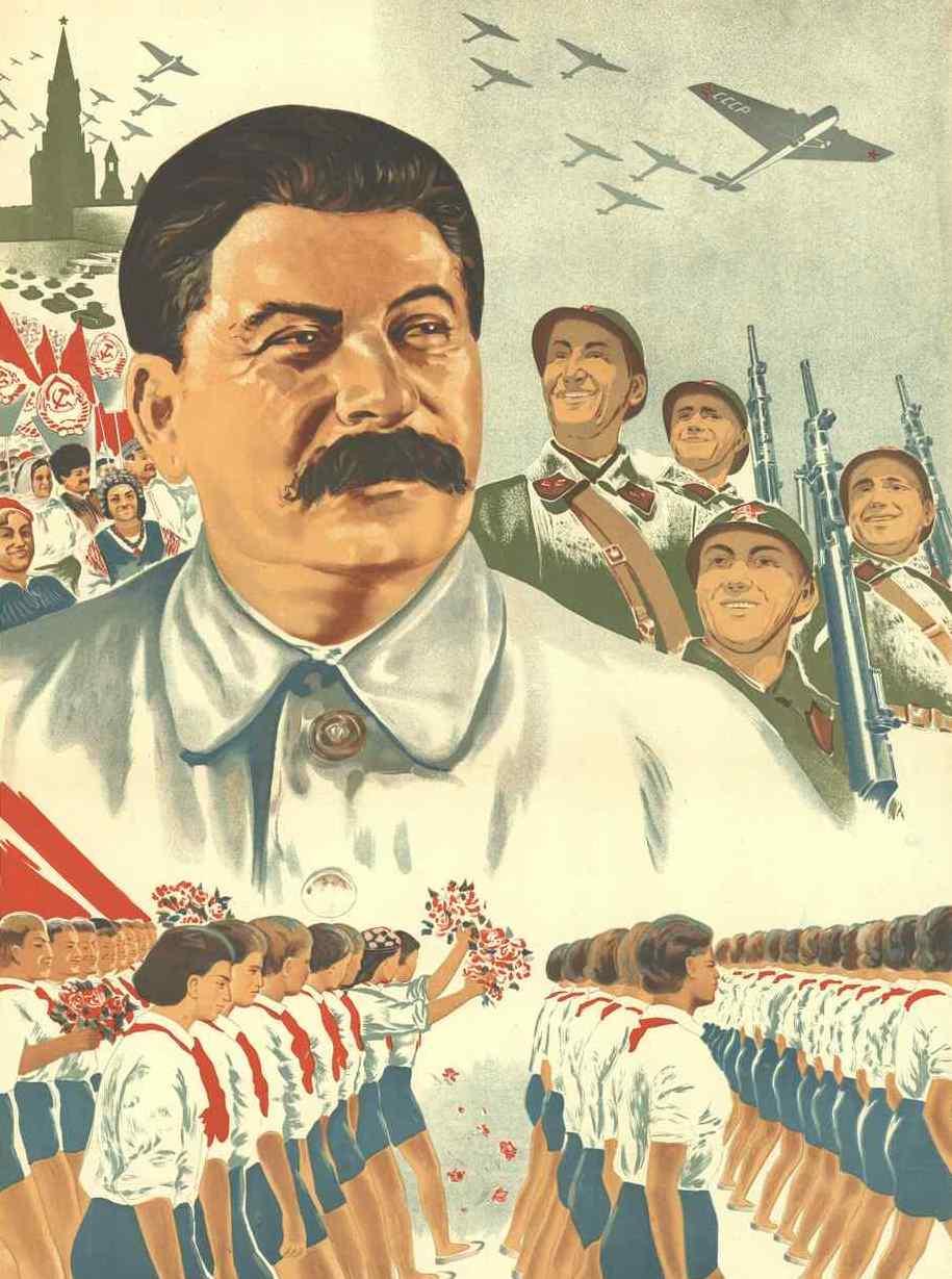 Stalin szybko zdał sobie sprawę, że nie może liczyć na polskich komunistów. Postanowił więc działać za pomocą radzieckich towarzyszy... fragment azerskiego plakatu z 1938 roku (źródło: domena publiczna).