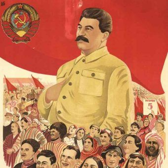 Józef Stalin na azerskim plakacie z 1938 roku (źródło: domena publiczna).