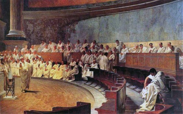 Wydarzenia na Sycylii były do tego stopnia solą w oku Senatu, że zdecydowano się wysłać na wyspę armię konsularną Akwiliusza. I to wszystko w momencie, gdy Imperium zagrażał atak ze strony germańskich Cymbrów. Na ilustracji XIX-wieczny fresk Cesarego Maccari przedstawiający wyobrażenie rzymskiego Senatu (źródło: domena publiczna).