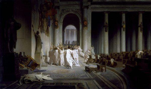 W spisku na życie Cezara mogło brać udział nawet 80 senatorów. Na ilustracji obraz Jeana-Léona Gérôme'a przedstawiający zadowolonych z siebie spiskowców (źródło: domena publiczna).