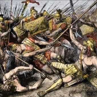 Śmierć Spartakusa na rycinie Hermanna Vogla (źródło: domena publiczna).