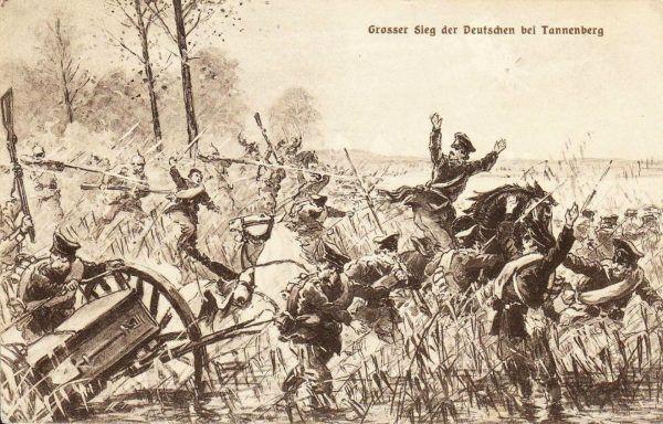 Tylko w pierwszych miesiącach wojny Rosjanie stracili blisko 300 tysięcy żołnierzy w walce z Niemcami. Na ilustracji niemiecka kartka pocztowa wydana z okazji zwycięstwa pod Tannenbergiem (źródło: domena publiczna).