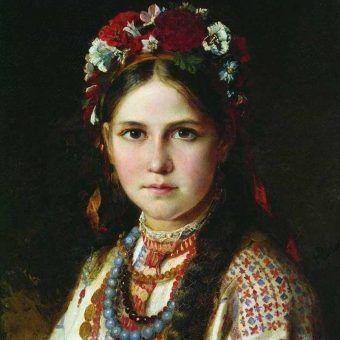 Ukraińska dziewczyna na obrazie Mikołaja Raczkowa z końcówki XIX wieku (źródło: domena publiczna).