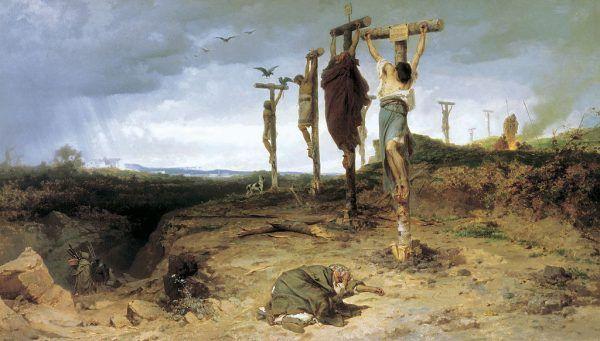 Po upadku powstania Spartakusa 6 000 jego uczestników został ukrzyżowanych wzdłuż Via Appia. Na ilustracji obraz Fiodora A. Bronnikowa (źródło: domena publiczna).