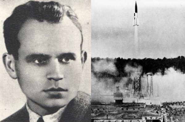 To właśnie Antoni Kocjan (na zdjęciu po lewej z domeny publicznej) pomógł rozwikłać tajemnice niemieckich rakiet V-2 w ośrodku badawczym w Peenemünde (po prawej, fot. Bundesarchiv, Bild 141-1880, lic. CC-BY-SA 3.0).