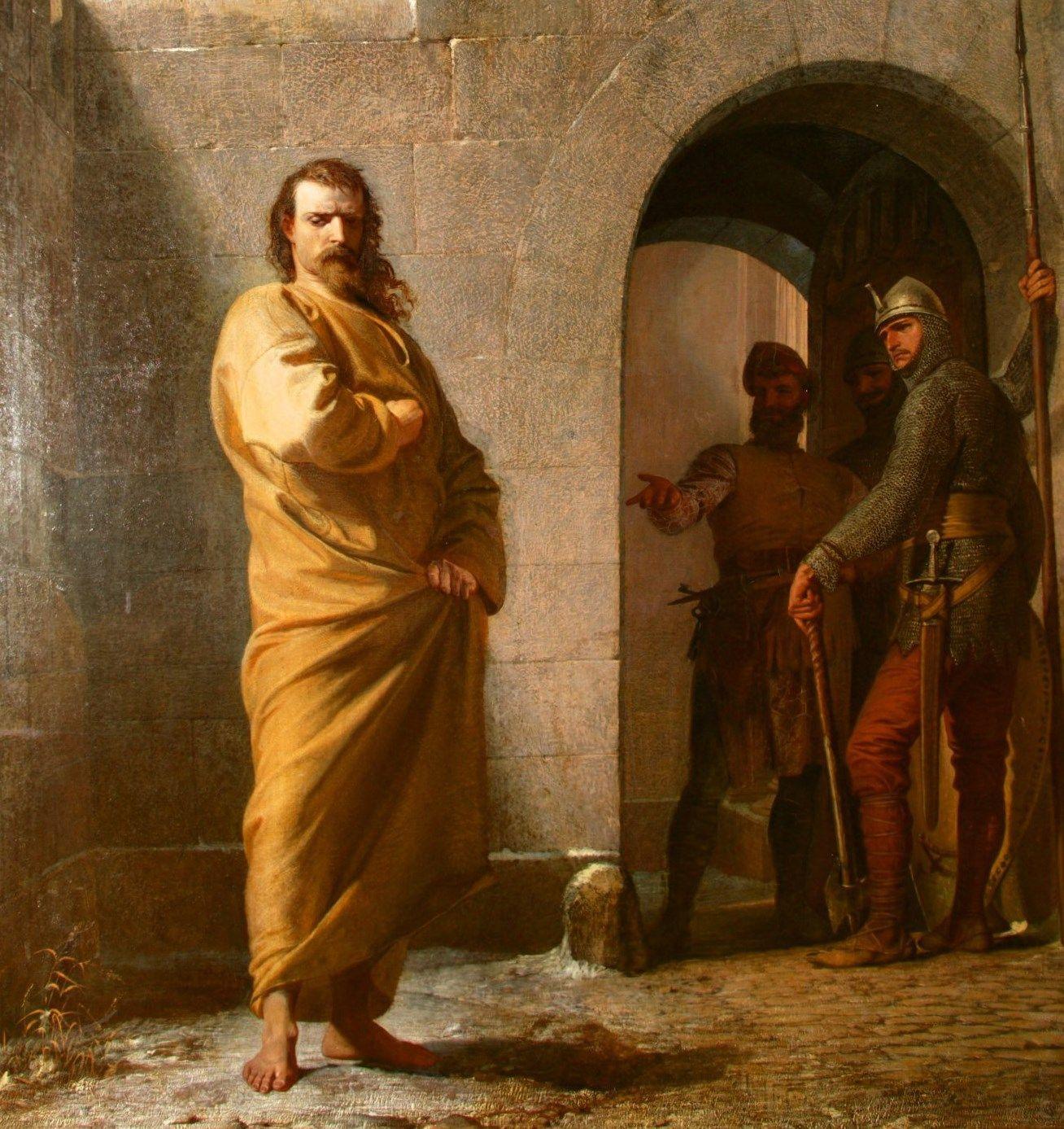 Henryk IV w Canossie na obrazie Eduarda Schwoisera.