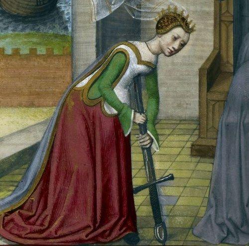 Samobójstwo Lukrecji, francuska miniatura z przełomu XV i XVI wieku.