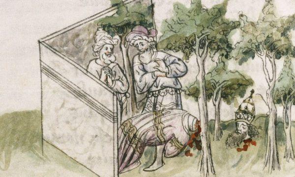 Odnalezienie zwłok samobójcy w średniowieczu wywoływało nie mniejszy szok niż dzisiaj. Miniatura z francuskiego manuskryptu z przełomu XIV i XV wieku.