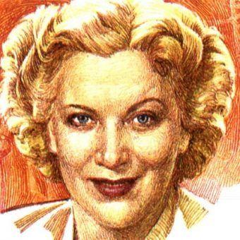 Arcycelebrytka radziecka przełomu lat 30. i 40. Lubow Orłowa na znaczku wydanym w 2001 roku (źródło: domena publiczna).