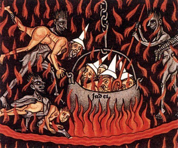 """Nawet jeśli Żydzi nie byli przedstawieni jako diabły, to i tak bez wątpienia byli potępieni. Detal z XII-wiecznego """"Ogrodu Rozkoszy"""" (źródło: domena publiczna)."""