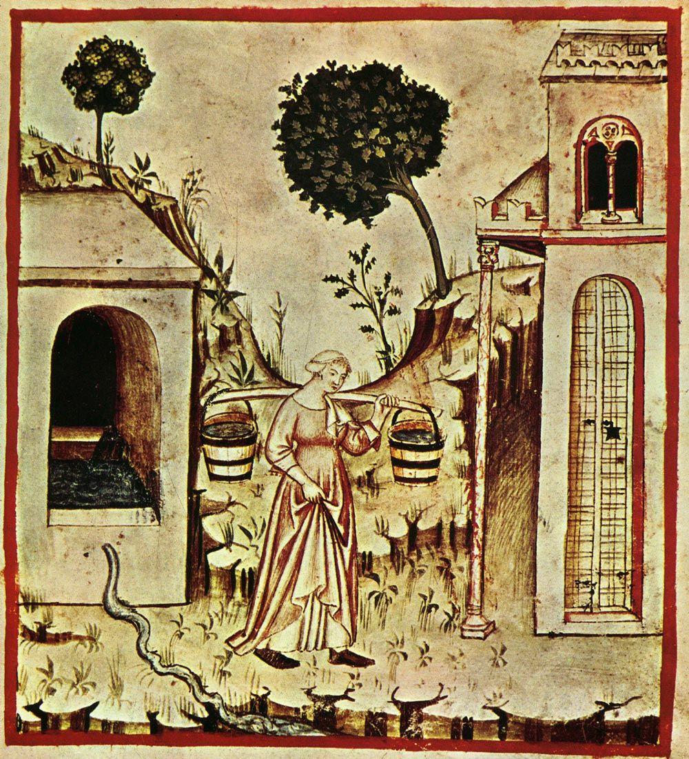 """Zwykła woda, czy może zatruta przez starozakonnych? Kto wie, może takie myśli krążyły po głowie tej pani... Obrazek z XIV-wiecznego podręcznika zdrowego życia """"Tacuinum Sanitatis"""" (źródło: domena publiczna)."""