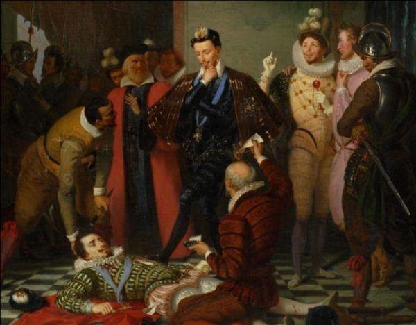 O, trup. Ciekawe, czy jak kopnę, to się ruszy... Pod koniec 1588 roku Henryk Walezy pozbył się księcia de Guise, a kilka miesięcy później sam stał się ofiarą skrytobójstwa (źródło: domena publiczna).