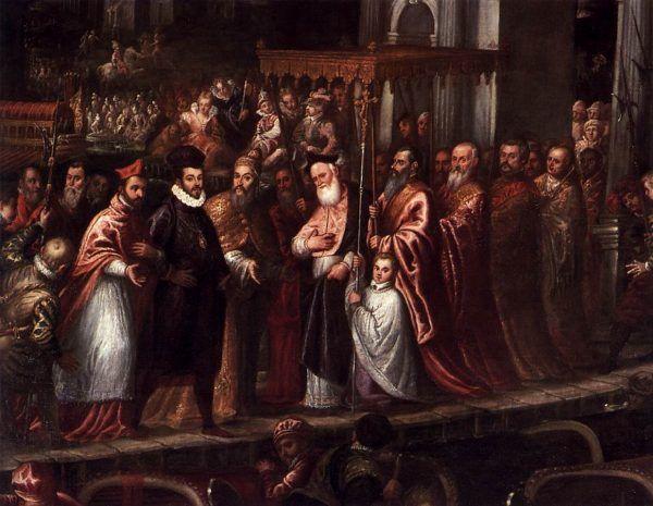 Henryk Walezy po ucieczce z Polski pierwszy raz był na prawdziwych wakacjach i nie zamierzał tracić z nich ani chwili. Na tym obrazie Andrea Vincentino widać, jak bogato witała króla Wenecja (źródło: domena publiczna).